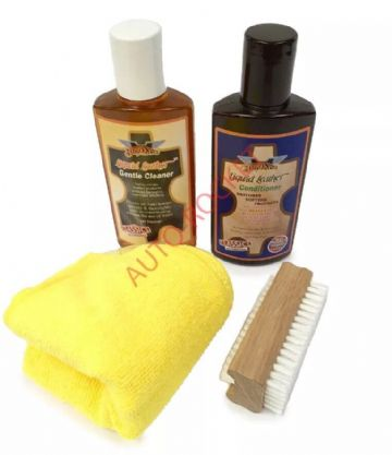 Gliptone Liquid Leather Cleaner Kit GT12 & Conditioner GT11 Microfiber & Nail Brush
